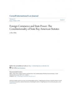 Foreign Commerce and State Power: The Constitutionality of State Buy American Statutes