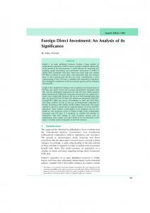 Foreign Direct Investment: An Analysis of its Significance