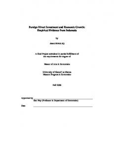 Foreign Direct Investment and Economic Growth: Empirical Evidence from Indonesia