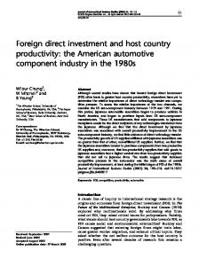Foreign direct investment and host country productivity: the American automotive component industry in the 1980s