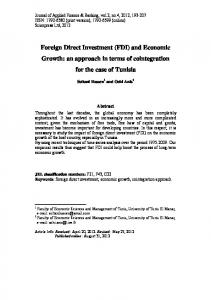 Foreign Direct Investment (FDI) and Economic Growth: an approach in terms of cointegration for the case of Tunisia