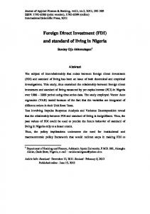 Foreign Direct Investment (FDI) and standard of living in Nigeria