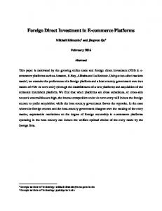 Foreign Direct Investment in E-commerce Platforms