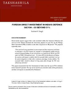 FOREIGN DIRECT INVESTMENT IN INDIA S DEFENCE