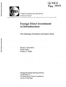 Foreign Direct Investment in Infrastructure