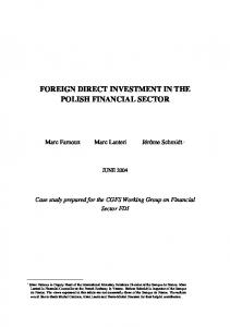 FOREIGN DIRECT INVESTMENT IN THE POLISH FINANCIAL SECTOR