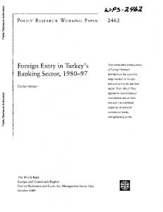 Foreign Entry in Turkey's Banking Sector,