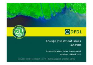 Foreign Investment Issues Lao PDR