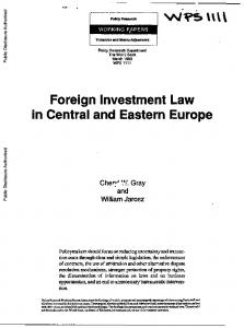 Foreign Investment Law in Central and Eastern Europe