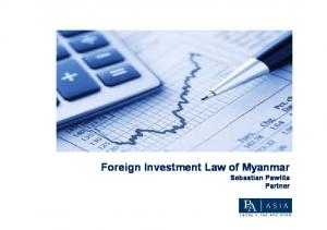 Foreign Investment Law of Myanmar Sebastian Pawlita Partner
