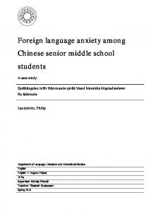 Foreign language anxiety among Chinese senior middle school students