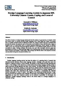 Foreign Language Learning Anxiety in Japanese EFL University Classes: Causes, Coping, and Locus of Control