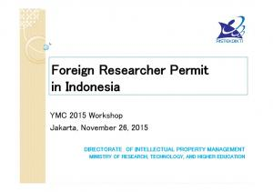 Foreign Researcher Permit in Indonesia