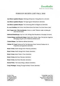 FOREIGN RIGHTS LIST FALL 2016