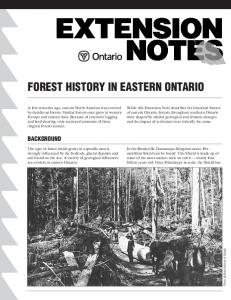 FOREST HISTORY IN EASTERN ONTARIO