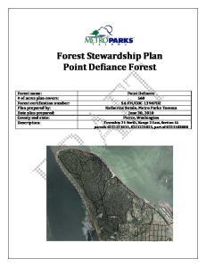 Forest Stewardship Plan Point Defiance Forest