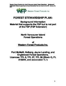 FOREST STEWARDSHIP PLAN: