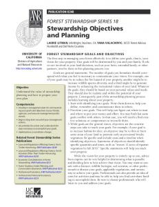 Forest Stewardship Series 18 Stewardship Objectives and Planning