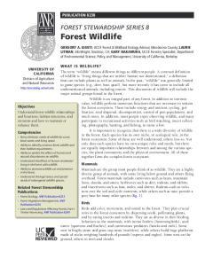 FOREST STEWARDSHIP SERIES 8 Forest Wildlife