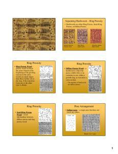 Forestry 240 Wood Science. Ring Porosity. Ring Porosity. Pore Arrangement. Ring Porosity. Separating Hardwoods Ring Porosity
