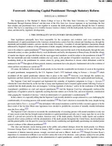 Foreword: Addressing Capital Punishment Through Statutory Reform