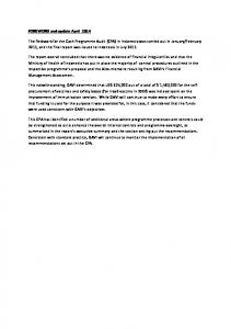 FOREWORD and update April 2014