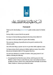 Foreword. Thank you for downloading Islamic Relief s guide on baby names for Muslim girls