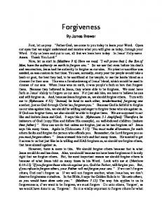 Forgiveness. By James Brewer