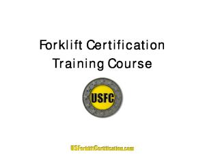Forklift Certification Training Course