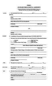 FORM 1 STANDARD FORM OF RENTAL AGREEMENT