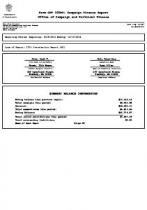 Form CPF 102ND: Campaign Finance Report Office of Campaign and Political Finance SUMMARY BALANCE INFORMATION