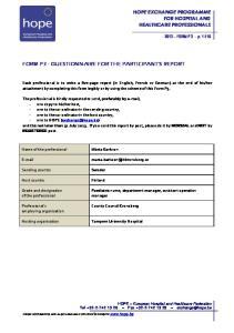 FORM P3 - QUESTIONNAIRE FOR THE PARTICIPANT S REPORT