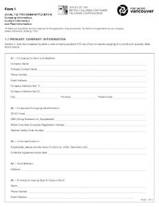 Form PRIMARY COMPANY INFORMATION. LOCAL TLS PROGRAM APPLICATION Company Information, Contact Information and Fleet Information
