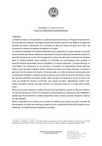 FORMACIÓN DE EMPRENDEDORES TALLER DE COMPETENCIAS EMPRENDEDORAS