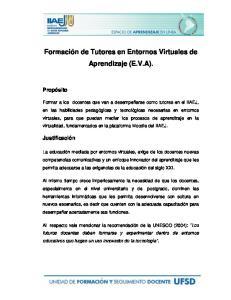 Formación de Tutores en Entornos Virtuales de Aprendizaje (E.V.A)