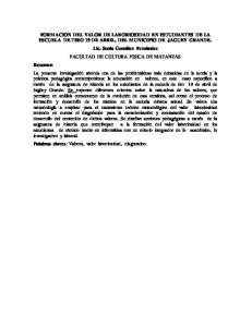FORMACION DEL VALOR DE LABORIOSIDAD EN ESTUDIANTES DE LA ESCUELA DE TIRO 19 DE ABRIL, DEL MUNICIPIO DE JAGUEY GRANDE