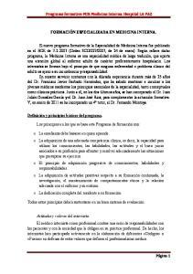 FORMACIÓN ESPECIALIZADA EN MEDICINA INTERNA