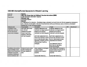 Formal Assessment of Student Learning