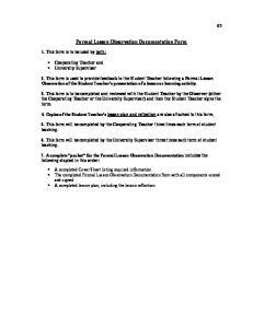 Formal Lesson Observation Documentation Form