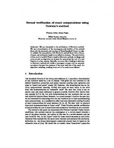 Formal verification of exact computations using Newton s method