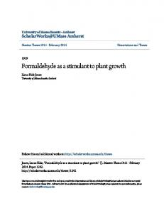 Formaldehyde as a stimulant to plant growth