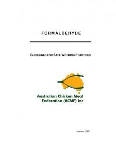 FORMALDEHYDE GUIDELINES FOR SAFE WORKING PRACTICES