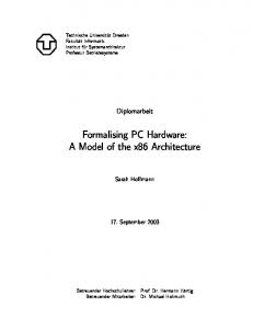 Formalising PC Hardware: A Model of the x86 Architecture