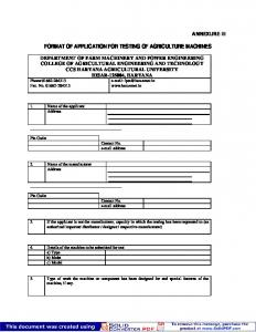 FORMAT OF APPLICATION FOR TESTING OF AGRICULTURE MACHINES