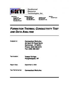 FORMATION THERMAL CONDUCTIVITY TEST
