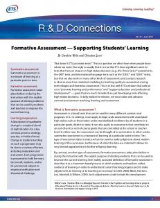Formative Assessment Supporting Students Learning