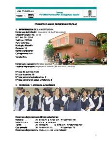 Formato FO-GRED Formato Plan de Seguridad Escolar FORMATO PLAN DE SEGURIDAD ESCOLAR