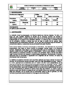 FORMATO PROPUESTA DE DESARROLLO PROGRAMA DE CURSO VERSION: 2