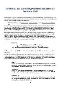 Formblatt zur Erstellung wissenschaftlicher Arbeiten