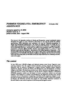 FORMER YUGOSLAVIA: EMERGENCY 18 October 1996 ASSISTANCE